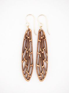 Wooden dragonfly wing laser cut earrings by Jessica Coleman