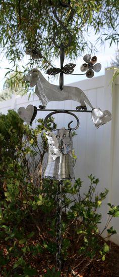 DACHSHUND Dinner BELL - Garden Art - Weiner Dog - Metal Steel Outdoor Decor - Pet Memorial - Custom Dog Art - Handmade - Animal Sculpture
