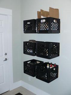 Wooden storage shelves milk crates New Ideas Milk Crate Shelves, Milk Crate Storage, Wooden Storage Shelves, Dresser Storage, Diy Storage, Shelving, Garage Storage, Storage Ideas, Milk Crate Furniture