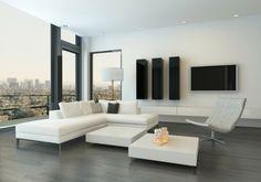 sala con suelo de madera color gris