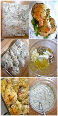 Csirke zacskóba rázva ;)A pácolás ideje 0,5-1 óra, akár egy sima hétköznap is könnyen elkészíthetjük a sütőben.(De ha van lehetőség rá, érdemes... Greek Recipes, Meat Recipes, Chicken Recipes, Dinner Recipes, Cooking Recipes, Healthy Recipes, Hungarian Recipes, Diy Food, Palak Paneer