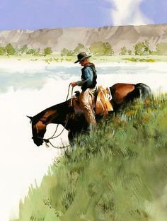 Grassy Slope by Don Weller Watercolor ~ 20 x 15 kK Watercolor Horse, Watercolor Artwork, Watercolor Ideas, Watercolor Artists, Real Cowboys, West Art, Le Far West, Mountain Man, Equine Art