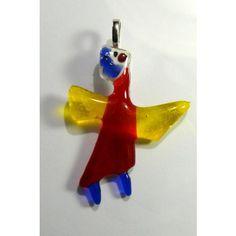 Unikat - Glas - Engel - Anhänger    Das zarte Geschöpf ist von mir in meinem Atelier entworfen worden und aus flüssigem Glas zu Schutzengeln geworden!  4 x 5 cm