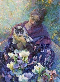 Sarah Don Hatfield Olaj, textília ~ 36 x 24 Illustrations, Illustration Art, She And Her Cat, New Fine Arts, Cat Drawing, Art Themes, Crazy Cats, Cat Art, Art Forms