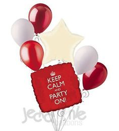 7 pc Red Keep Calm and Party On Happy Birthday Balloon Bouquet Party Decoration