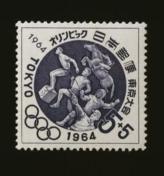 Postage stamp commemorating Tokyo Olympics JAPAN - SEPTEMBER 06: Postage stamp commemorating the Tokyo Olympics, 1964, depicting horse riding, swimming, fencing, running and pistol shooting. Japan, 20th century. Japan (Photo by DeAgostini/Getty Images)