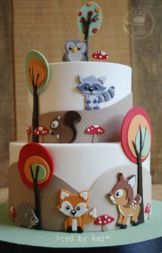 Fondant Woodland Animal Cut-Out Cake . Fondant Woodland Animal Cut-Out Cake Mehr Fondant Woodland Baby Cakes, Baby Shower Cakes, Pink Cakes, Pretty Cakes, Cute Cakes, Fondant Cakes, Cupcake Cakes, Woodland Cake, Woodland Party