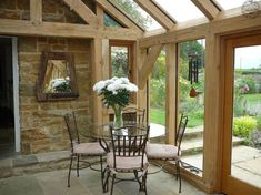 Link throw with large timber frame Oak Framed Extensions, House Extensions, Conservatory Interiors, Conservatory Ideas, Dormer House, Border Oak, Cottage Extension, Oak Framed Buildings, Oak Frame House