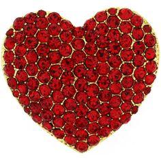 Sparkling Siam Red Crystal Love Heart Brooch