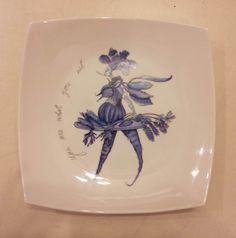Dibujo y pintura en porcelana. Plato tipo fuente.