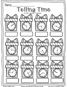 Christmas Math--telling time to the nearest five minutes--2nd grade math