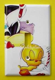 BABY Looney Tunes Sylvester the Cat Tweety Bird Single Switch Plate switchplate . $9.49