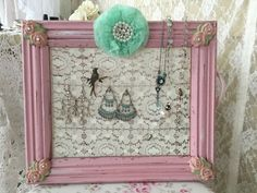 A personal favorite from my Etsy shop https://www.etsy.com/listing/495888480/shabby-lace-jewelry-holder-hanger