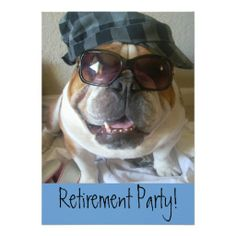 Retirement Party Invitations English Bulldog