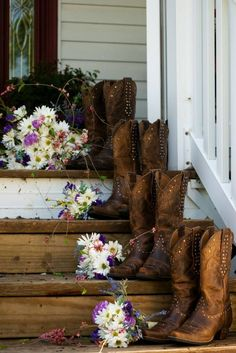 cute photo with the bridesmaid and brides shoes and bouquets on a staircase