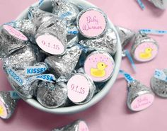 Cute Duck Themed Stickers for HERSHEY'S KISSES Candy - Adorable Pink Girl Baby Shower Favors