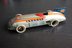 Rare tin racecar Chad Valley? Made in UK. Union Jack  + good condition +-1920