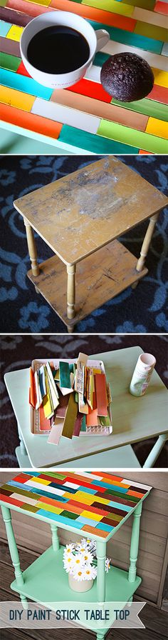 How to make a paint stick table top from @savedbyloves #DIY #Tutorial....  Gave me the idea to use backsplash glass tiles to do for a table top.....