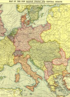 Map of the new Balkan states and Central Europe 1914 (from National Geographic magazine) Vintage Maps, Antique Maps, National Geographic Maps, Geography Map, Map Globe, Old Maps, Map Design, European History, Aries