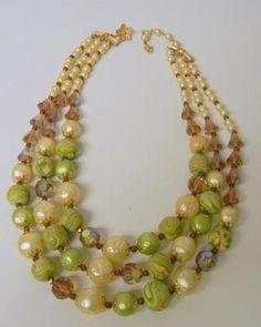 Vendome Signed Lucite Faux Pearls Aurora Borealis Crystal Triple Strand Necklace | eBay