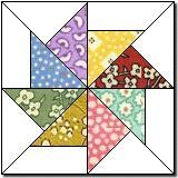 tutorial for this pinwheel block...would be a great card in reduced size...