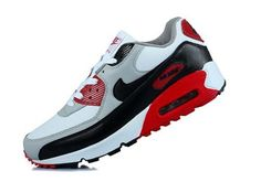 the latest 882b2 2d638 Nike Mens Air Max 90 Essential Red White Grey Trainers