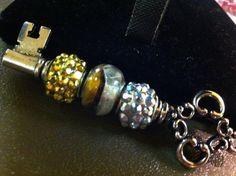 Gold and Silver keychain Charm Key shaped steam punk by WCRSaenz