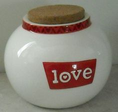 """Thoughts of Love Ceramic Jar """"Love"""" Russ Red White Valentines Cork Lid  - This Item is for sale at LB General Store http://stores.ebay.com/LB-General-Store ~Free Domestic Shipping ~"""