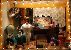 Adorable back-to-school window display idea! Incorporates all the elements of education!