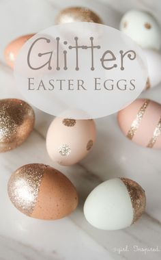 These DIY glitter Easter egg decorations are beautiful. This craft would make a lovely easter decoration for the home.