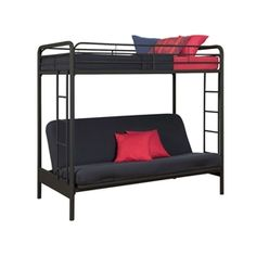 Twin over Full Futon Bunk Bed Sleeper Sofa in Black Metal - Furnishdream.com- Online Store for Furniture, Home Decor, and more...