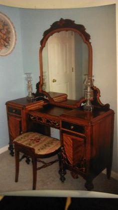 Bedroom Furniture Antique 1950 bedroom vanity   antique furniture: vintage bedroom set