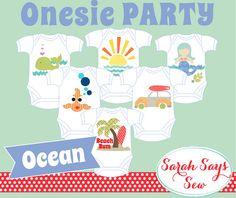 DIY Baby Shower - ONESIE PARTY - Ocean Themed - Unique Baby Shower - Baby Shower Game