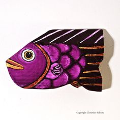 Painted Wood Fish Purple Folk Art Handmade