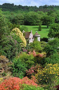 Scotney Castle Landscape Gardens, Kent, England | View across Quarry Garden to Castle.