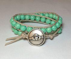 Green Riverstone w/ Claddaugh Double Wrap by DesignsByJen1 on Etsy, $31.00