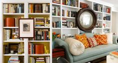 Mounting art work or a mirror between shelves can break up a long run and add unexpected character and dimension. http://livingbozeman.com/ideas-for-styling-shelves/
