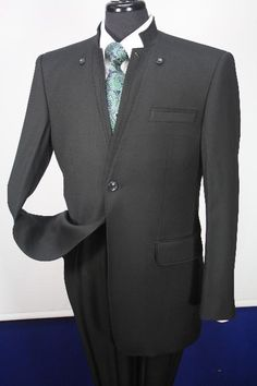 Mens 100% Wool Suit- Button Down Mandarin Collar | MensITALY  Price: US $249