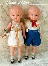 Art Deco CELLULOID Doll Dolls, Jointed and Strung, Lace Trim Clothes, Signed JAPAN c.1920's!