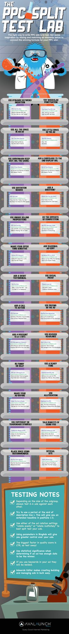 Feeling like you're out of ideas of what to test for your next #ppc campaign? The folks at Avalaunch Media have created an infographic designed to get you inspired. From asking questions to being funny, here are 26 ideas to consider. http://searchengineland.com/infographic-26-ideas-for-split-testing-your-search-ads-155821