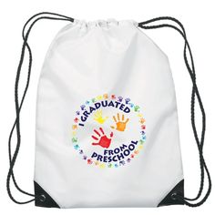 I Graduated from Preschool Backpack - Reward preschool graduates with this backpack and watch their eyes light up and see them smile from ear to ear. Kindergarten Graduation Gift, Kindergarten Gifts, Preschool Backpack, Graduation Cap And Gown, White Backpack, Stage Decorations, Cool Backpacks, Student Gifts, Early Childhood