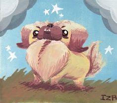 Pekingese by Izaart Lion Dog, Dog Cat, Pekingese Dogs, Art Forms, Lions, Cute Puppies, Art Drawings, Creatures, Teddy Bear