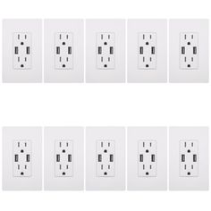 10PK-TOPGREENER-4A-High-Speed-USB-Charger-Outlet-Receptacle-15A-White