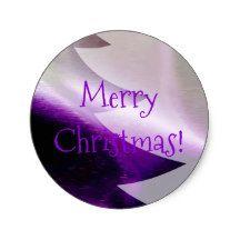 Purple Silver White Christmas Tree Elegant Stylish Classic Round Sticker