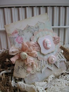 shabby chic CAMEO BLESS YOU handmade card