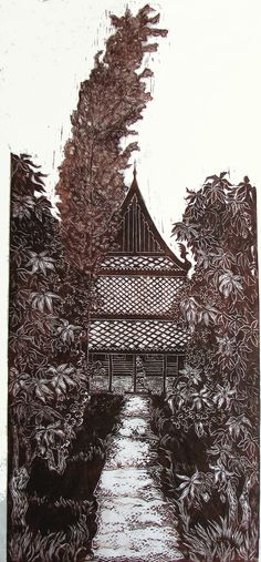 Teak Temple Among the Mangoes, limited edition lino cut, hand printed, hand signed in pencil by artist