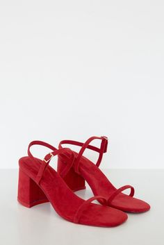 "Rafa Vegan Suede Simple Sandal - Red - Vegan Textiles - This style is narrow but runs true to size - 3"" Heel - This style is narrow but runs true to size - Hand Made in Los Angeles"