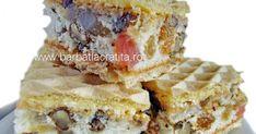 Prajitura Rumba (sau Mozaic) are un blat uns cu crema si pus intre doua foi de napolitana. Blatul este cu rahat, nuca si stafide). Romanian Desserts, Romanian Food, Sweet Recipes, Cake Recipes, Great Desserts, Eat Dessert First, Food Cakes, Homemade Cakes, Cakes And More