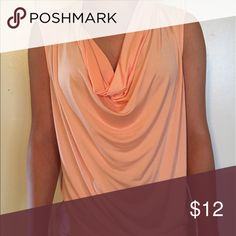 Women's sleeveless blouse Peach sleeveless blouse polyester and spandex. Loose scoopneck WW worthington stretch Tops Blouses