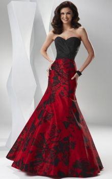 Red Mermaid/Trumpet Corset Long/Floor-length Satin Prom Dress PD0AC0